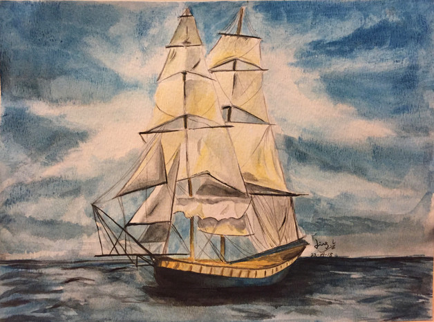 water-colour painting of a ship in the ocean