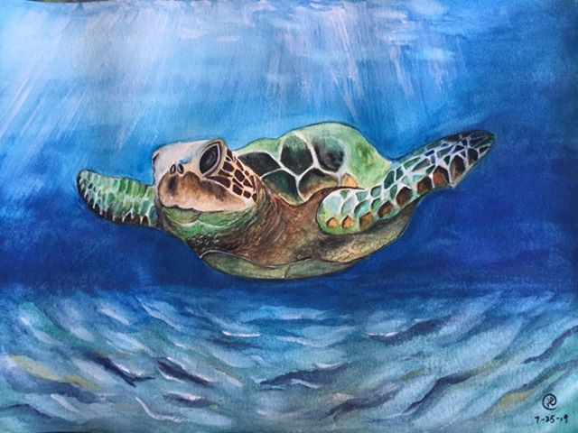 water-colour painting of a sea turtle