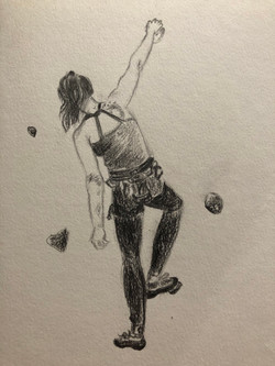 a climber on the wall