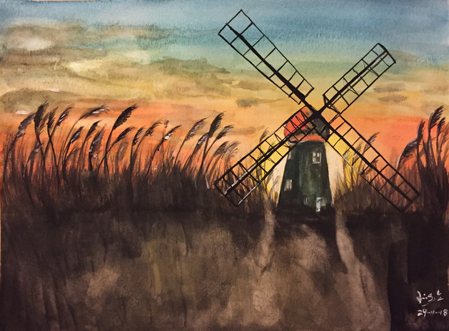 water-colour painting of windmill field in sunset