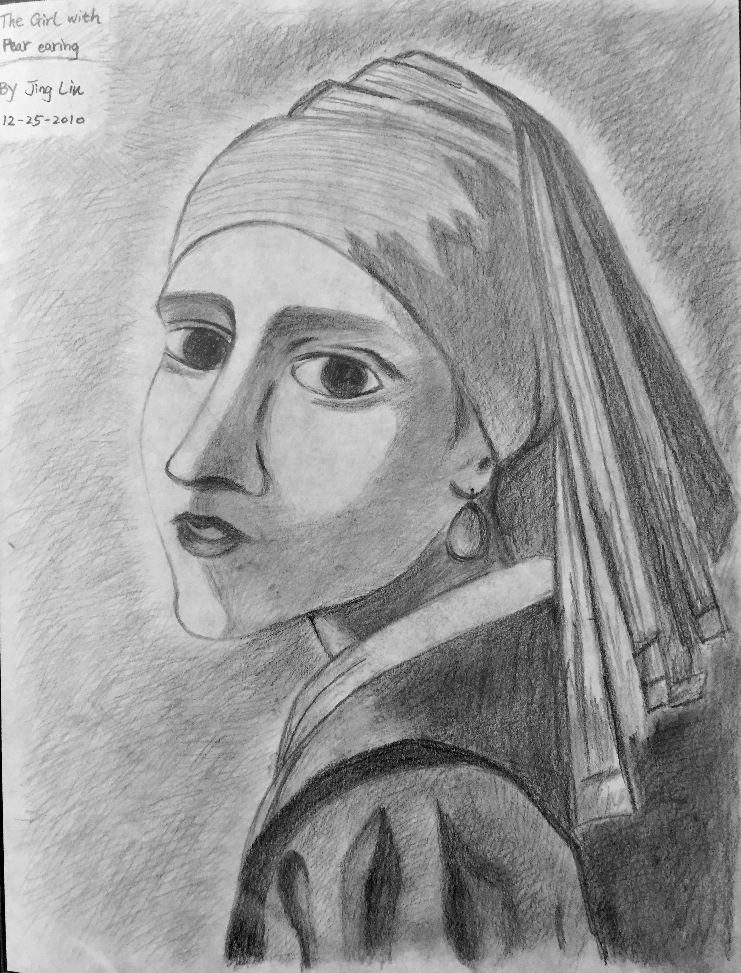 pencil portrait of a girl in pearl earring