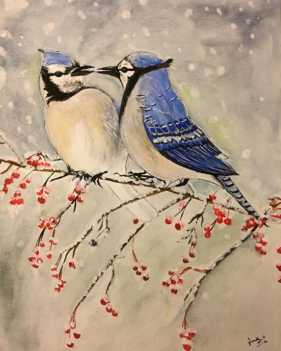water-colour painting of blue jays resting in the snowing sky