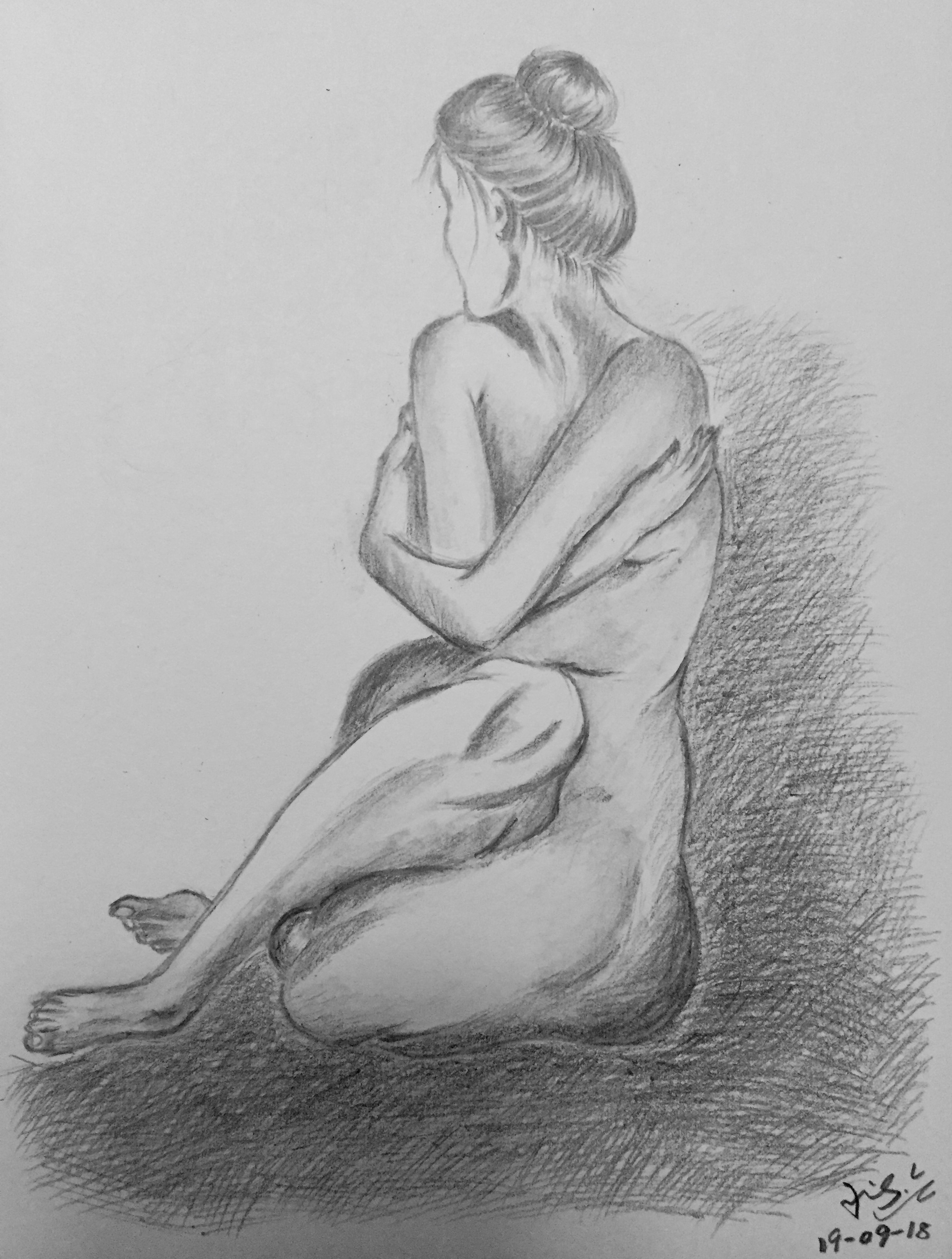 pencil drawing of a woman figure 3