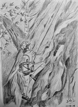 pencil portrait of a young climber