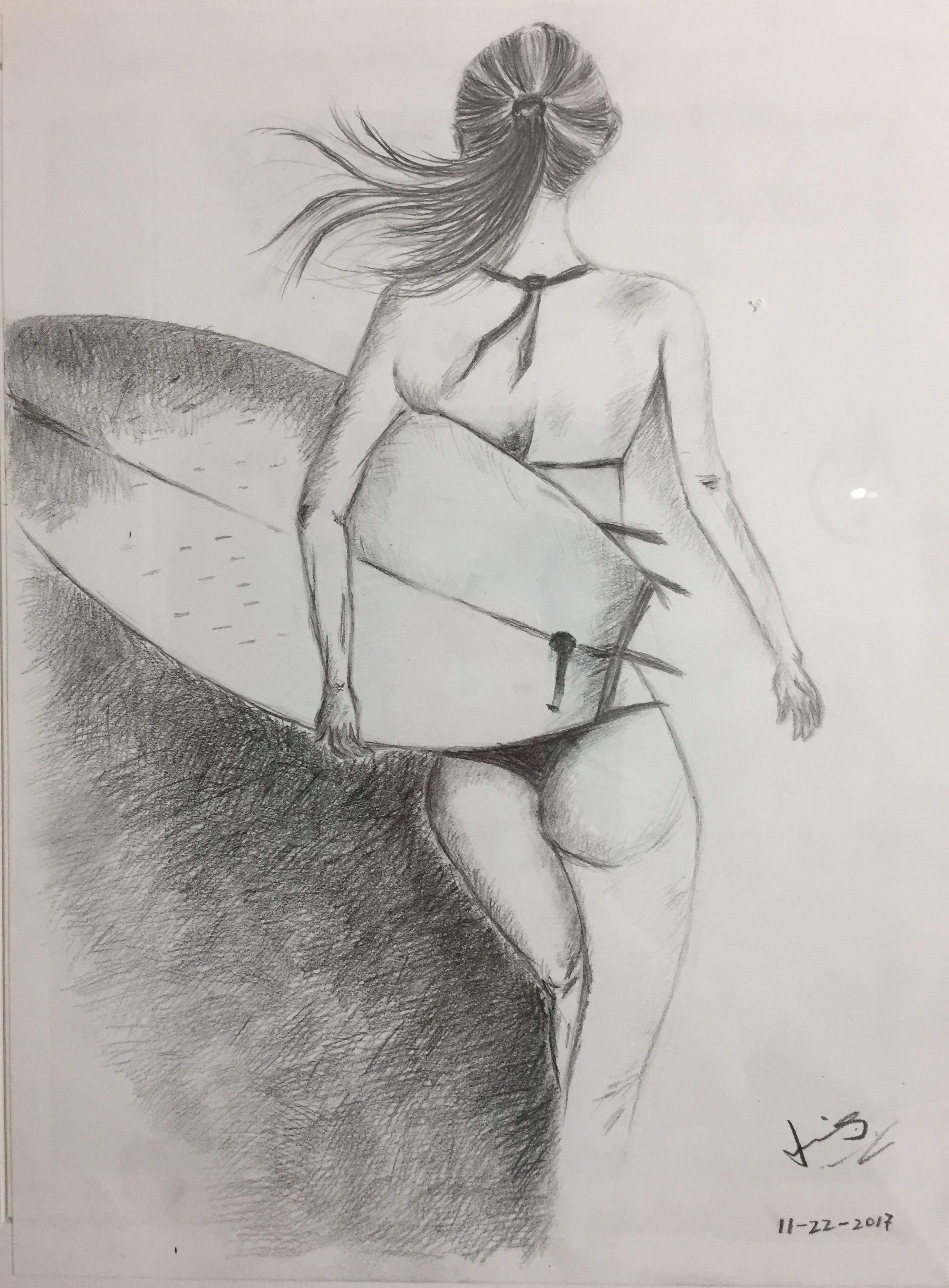 pencil drawing of a beach girl