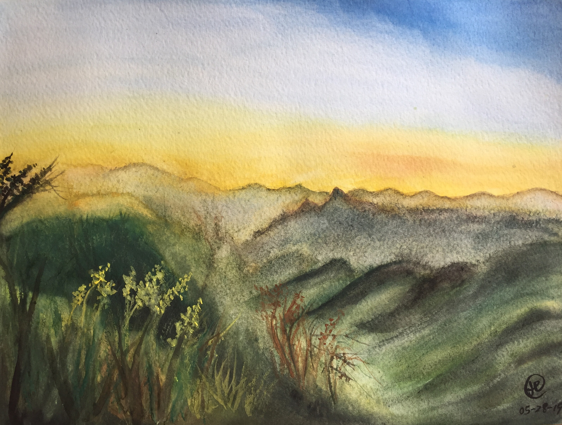 water-colour painting of landscape
