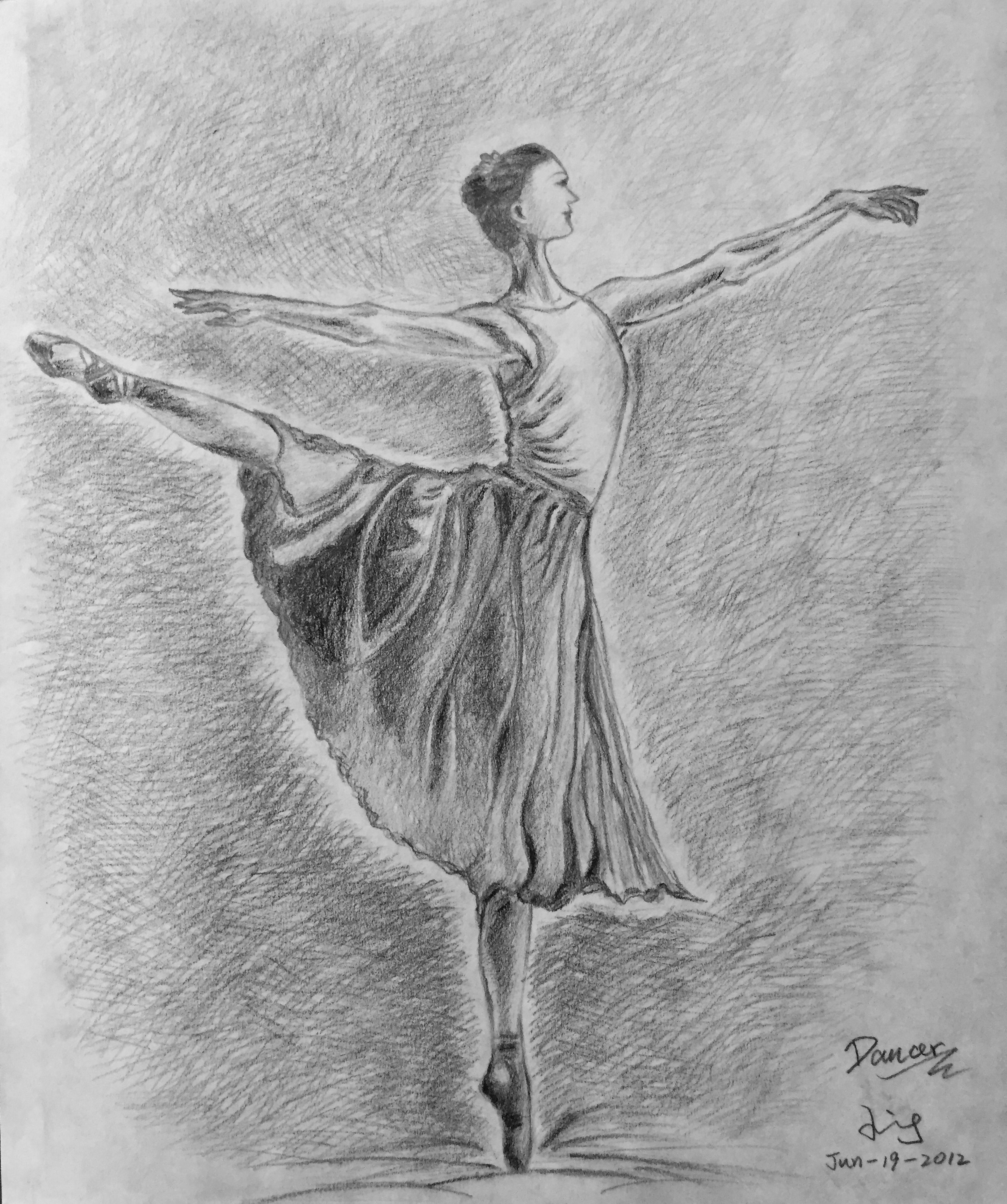 pencil drawing of a dancer 2
