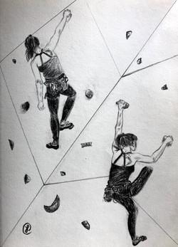 climbers on the wall