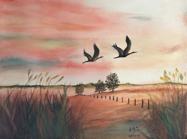 water-colour painting of geese flying in sunset