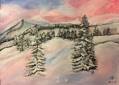 water-colour painting of snowy mountain in sunset