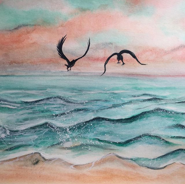 water-colour painting of birds flying above the sea