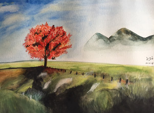 water-colour painting of a maple tree in the field
