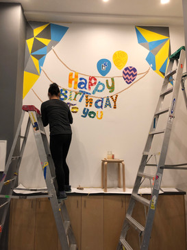 party room mural painting: Day2