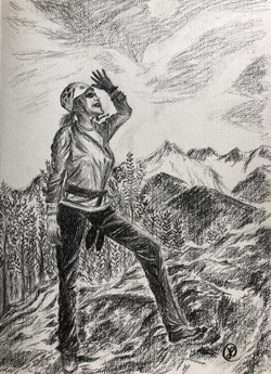 A climber enjoyed the peak view