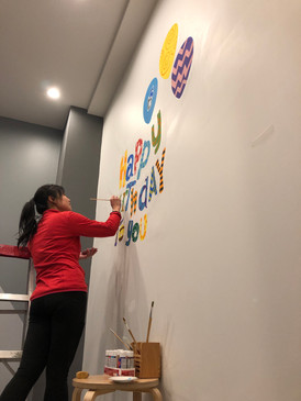 party room mural painting: Day1