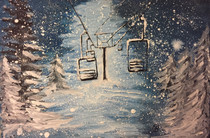 water-colour painting of ski chairs in the snowy night