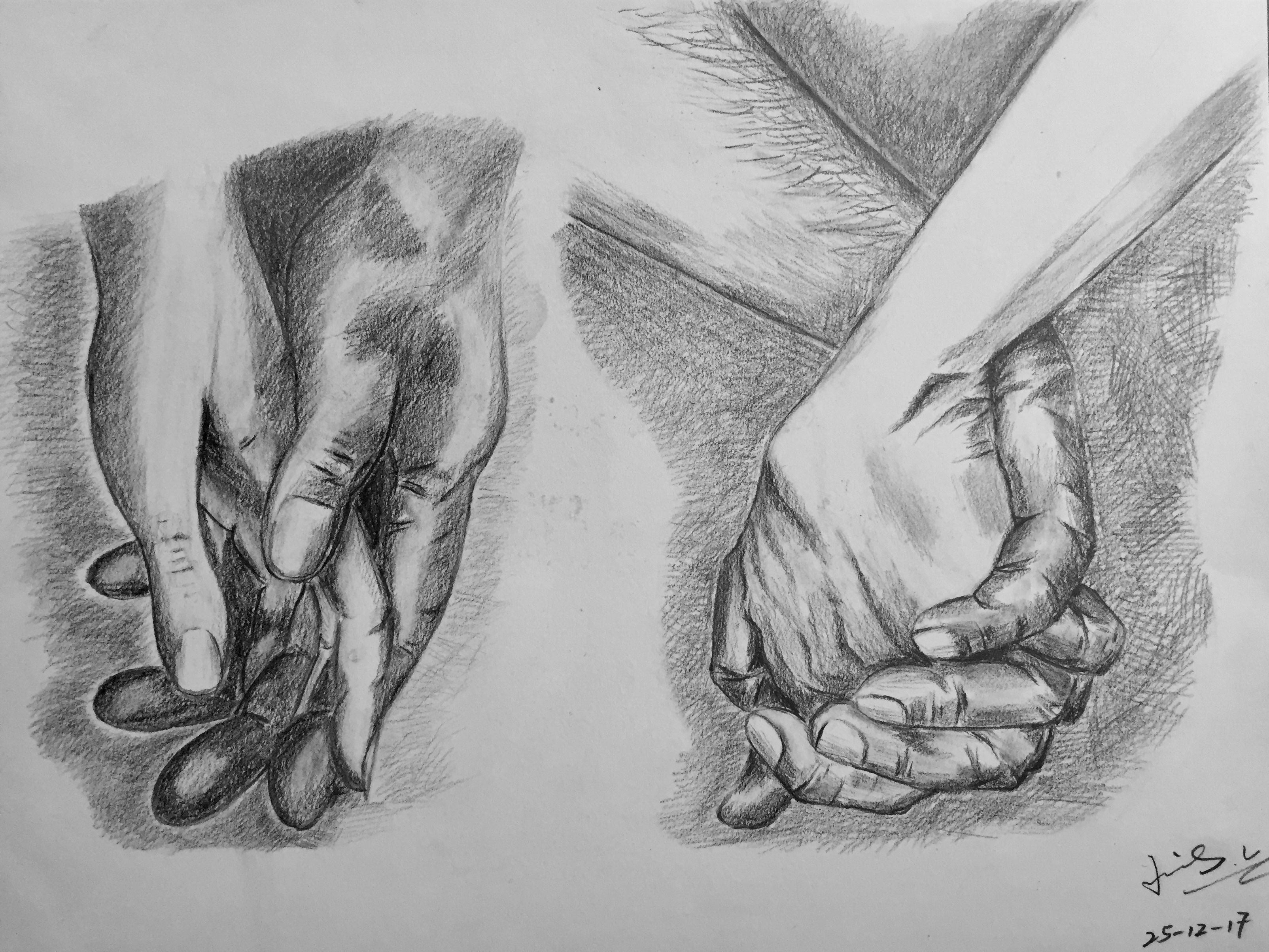 pencil drawing of holding hands