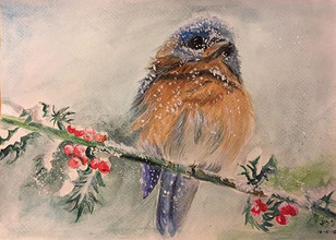water-colour painting of a fluffy bird in snow