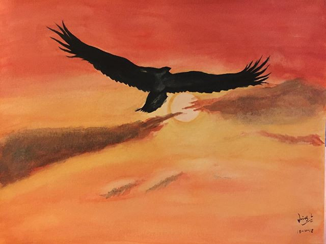 water-colour painting of an eagle fly in the sun set