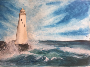 water-colour painting of light house