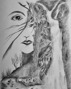 Pencil drawing of Wild spirit