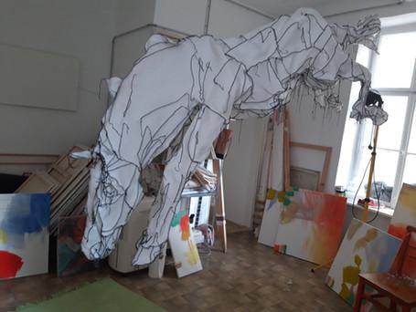 """""""da sah ich ein fahles Pferd"""" textile Skulptur, lebensgroß"""