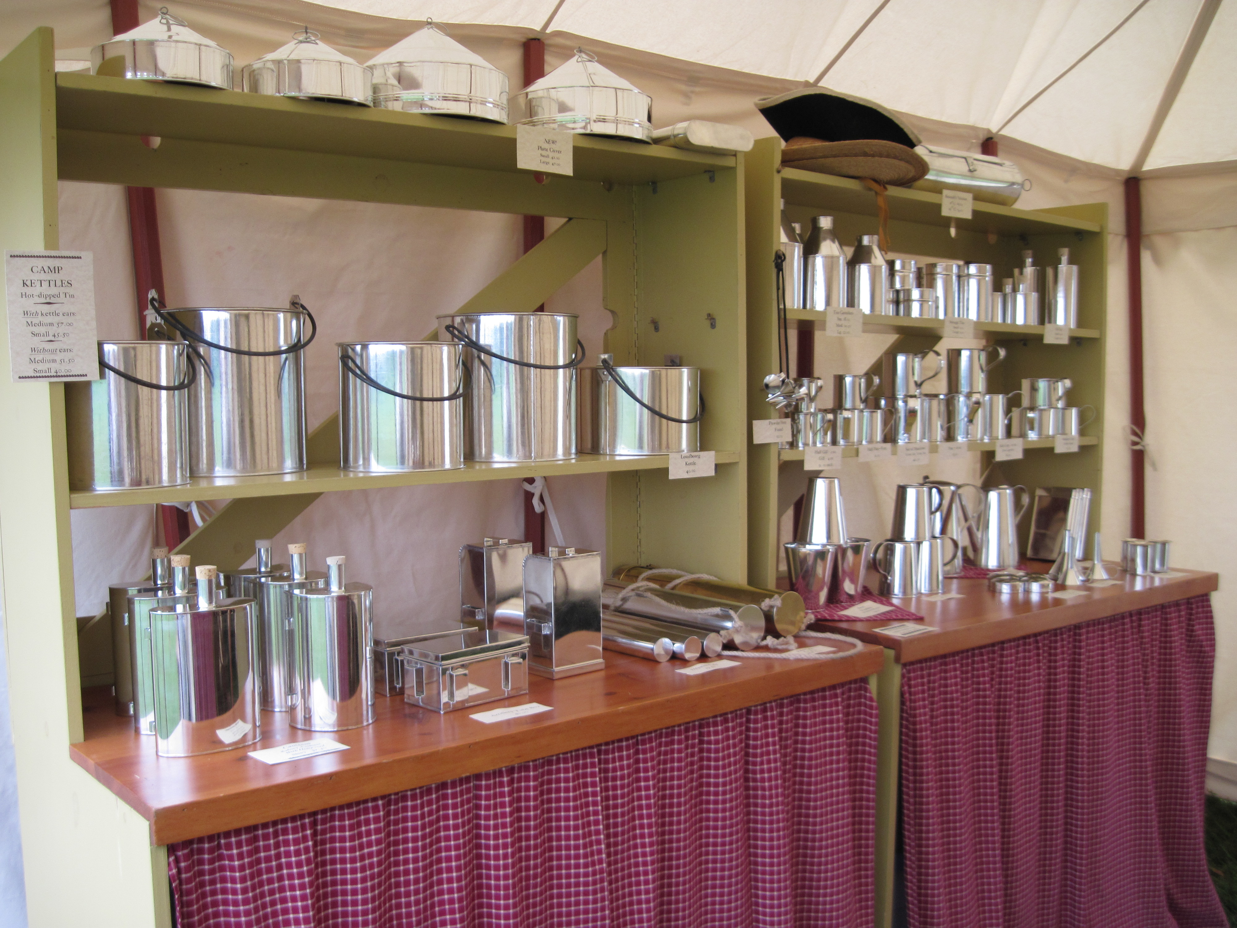 Tinware display - kitchen items