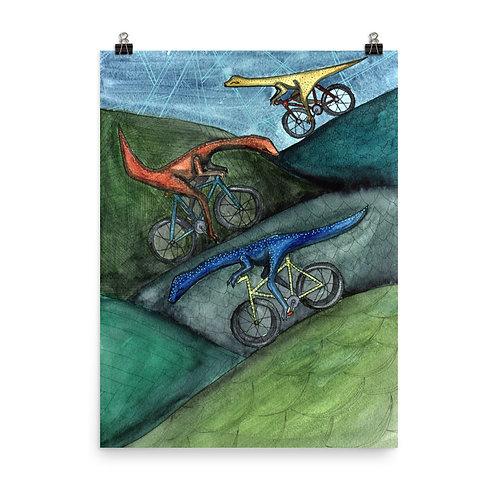 Biking Dinos Poster