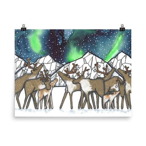 Caribou Night Poster