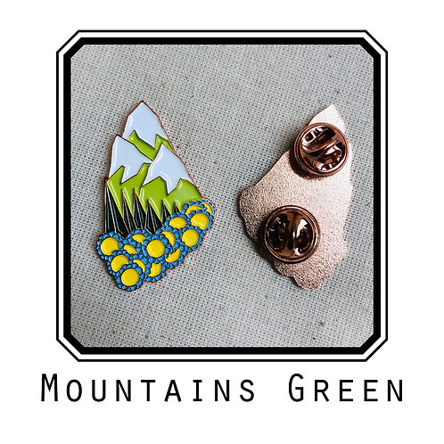 Mountains Green Enamel Pin
