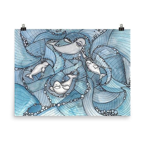 Beluga Bubbles Poster