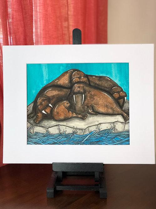 Walrus Family Original Art