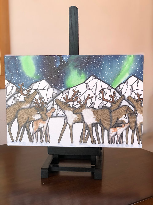 """Caribou Nights Wild Scoops 8x12"""" Canvas Print"""
