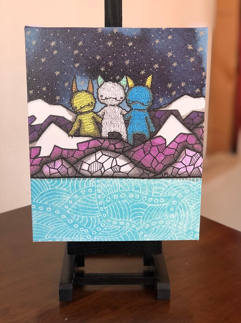 "3 Monster Friends Wild Scoops 8x10"" Canvas Print"