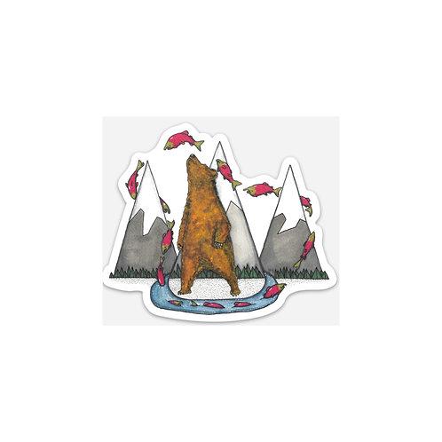 Salmon Bear Sticker
