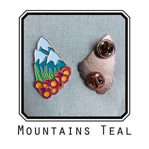 Mountains Teal Enamel Pin