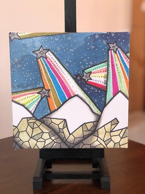 "Rainbow Star Mountains Wild Scoops 8x8"" Canvas Print"