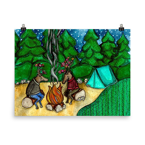 Camping Caribou Poster