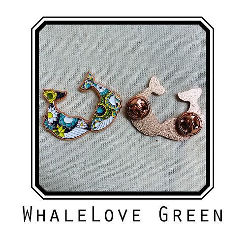 Whale Love Green Enamel Pin