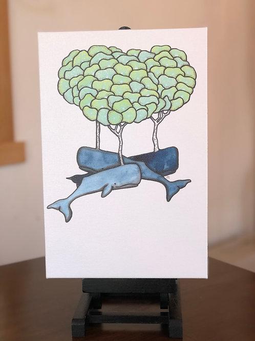 """Birch Whales Wild Scoops 8x12"""" Canvas Print"""