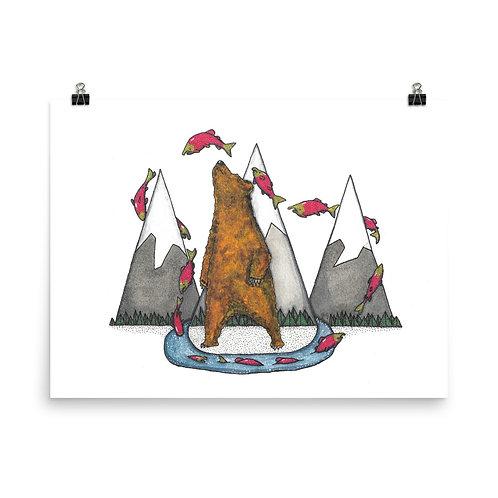 Salmon Bear Poster