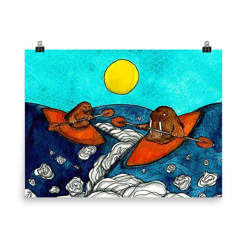Kayaking Walrus Poster