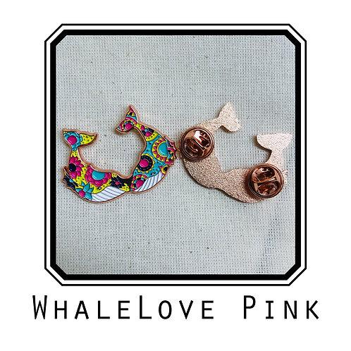 Whale Love Pink Enamel Pin