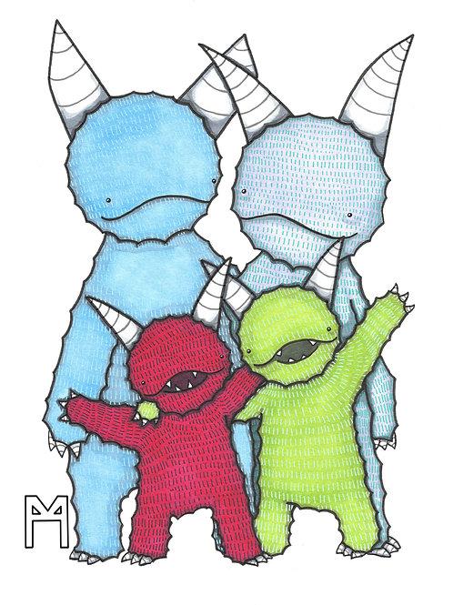 Monster Family of 4