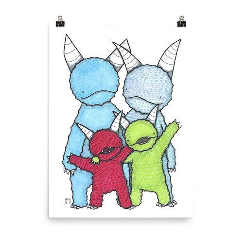 Monster Family of 4 Poster