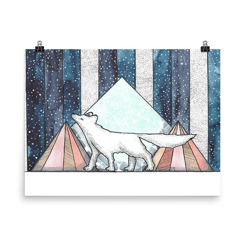 Arctic Fox and the Pink Mountains Poster