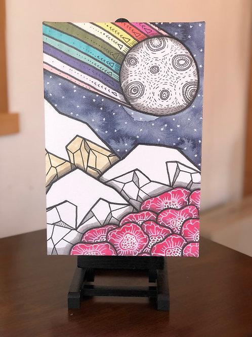 "Rainbow Moon Mountain Wild Scoops 8x12"" Canvas Print"