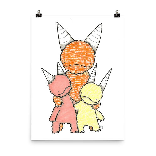 Parent and 2 Kids Monster Family Poster