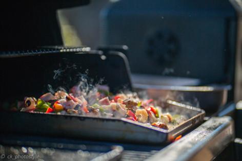 Gambas und Meeresfrüchte auf dem Grill