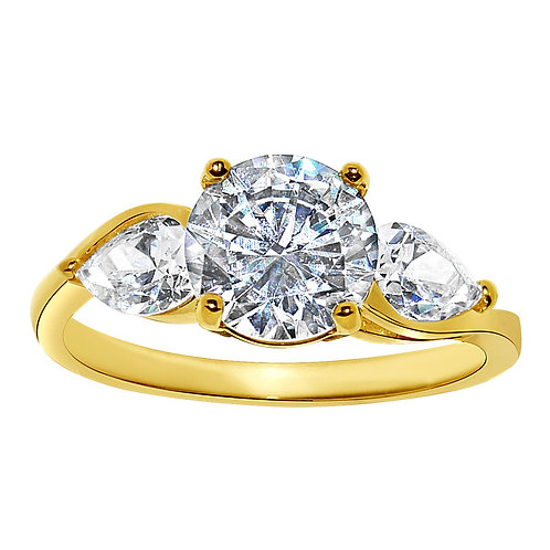 14k Yellow Gold 2 1/4ct TGW Round-cut Diamonette Engagement Ring